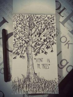TØP.  Trees. Black  pen.