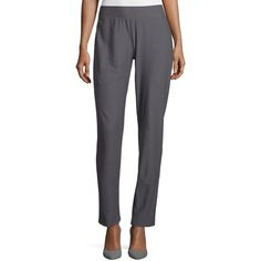 Eileen Fisher Washable-Crepe Straight-Leg Pants (8,110 PHP) ❤ liked on Polyvore featuring pants, ash, eileen fisher pants, straight leg pants, eileen fisher, crepe pants and slim trousers