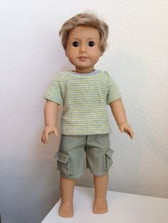 American Girl Playthings   Custom boy doll   Outfit made with Lee & Pearl patterns 1001 (unisex t-shirts) and 1004 (pants and cargo shorts).