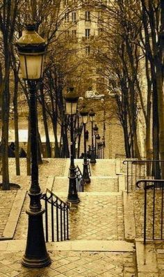 Lantern Stairs, Montmartre, Paris, France I climbed these... very good workout!