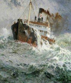 Ship Paintings, Seascape Paintings, Landscape Paintings, Old Sailing Ships, Merchant Navy, Merchant Marine, Art Watercolor, Boat Art, Boat Painting
