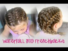 Waterfall into Double Frenchbacks! Looks complicated, but fairly easy!  {with a 10-minute video tutorial and more photos}  #Braids #WaterfallBraid #Hairstyles #FrenchBraid