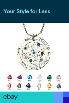 34eb16575 Family Tree Necklace Personalized Mothers Necklace Birthstone Name Necklace