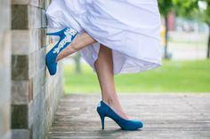 Blue wedding shoes from Etsy seller Walkinonair