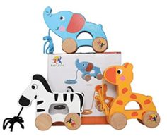 Wooden Pull Along Toy, Set of 3, Giraffe, Elephant and Zebra