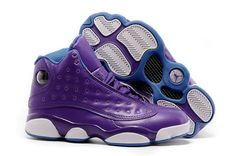 reputable site f85b9 98bf8 2018 New Arrival Air Jordan 13 XIII GS Hornets Violet Girls Teal CP3 Home  Away Size
