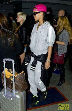 Rihanna wearing Nike Air Force 180