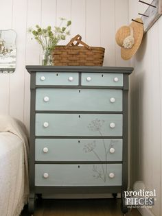 Vintage Empire Chest with Hand Painted Queen Anne's Lace by Prodigal Pieces…