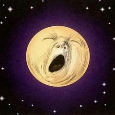 """Yawning moon illustration by Jef Murray from the book """"Black & White Ogre Country"""" by Hilary Tolkien Moon Shadow, Sun Moon Stars, Sun And Stars, Illustrations, Illustration Art, Moon Pictures, Paper Moon, Good Night Moon, Goid Night"""