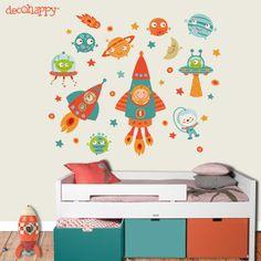 vinilos infantiles, decoracion infantil, habitaciones bebes y niños, decohappy Boy Room, Kids Room, Murals For Kids, Space Theme, Kids Corner, Classroom Decor, Nursery, Summer Boy, Interior Design