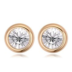 Btime NEW romantic charms Champagne gold Crystals  stud earring for women 9 color  christmas Crystals From Swarovski