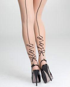 Bebe 'Love' Bow Print Sheer Tights