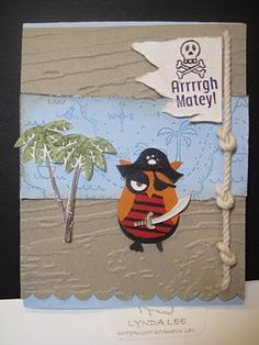 Pirate owl from Stampin' Up! owl punch...super creative card...like the rope with knots too...