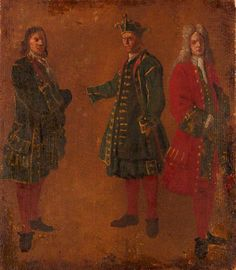 Three Studies of Men, Venice by Luca Carlevarijs Date painted: c.1700–1710 Collection: Victoria and Albert Museum