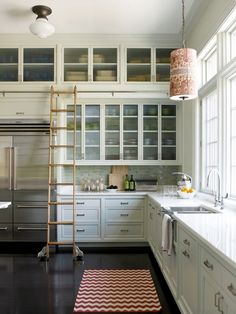 Sliding Library Ladders In The Kitchen