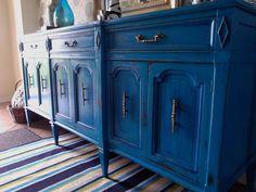 Turquoise Buffet / Media Unit / Dresser by ReetiquedByRaeBond, $699.00
