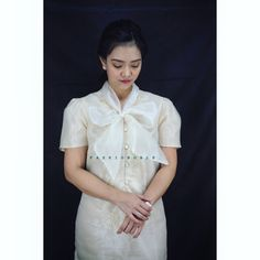 Embroidered barong dress with Bow collar