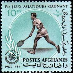 Stamp: Tennis player (Afghanistan) (IV. Asian Games in Djakarta) Mi:AF 787A,Sn:AF 656D,Yt:AF 745