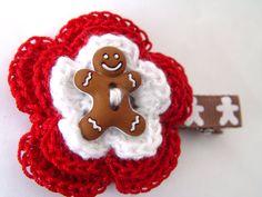 Gingerbread Man Christmas Crochet Hair Accessory