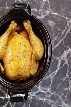 Receta de Pollo asado en Crock-Pot - Con las zarpas en la masa Carnitas, Crockpot Recipes, Slow Cooker, Turkey, Meat, Cooking, Gluten, Food, Gastronomia