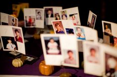 Table numbers - childhood photos of bride and groom at the age matching number