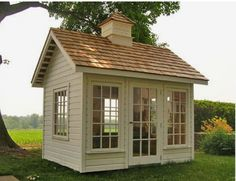 """the windows in this garden cottage studio """"The Conservatory"""" Includes 6 awning type windows & a door.love the windows in this garden cottage studio """"The Conservatory"""" Includes 6 awning type windows & a door. Garden Cottage, Home And Garden, Garden Houses, Inside Garden, Herb Garden, Garden Beds, Modern Shed, Modern Lofts, Shed Building Plans"""