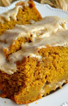 Moist, soft and tender Pumpkin Bread topped with the most delicious brown butter maple glaze! This is the BEST you'll ever try! pumpkin desserts, recipes