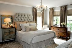 My Sweet Savannah: ~beautiful bedrooms~. Don't mind the mismatched dressers. Like the upholstered headboard too.