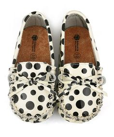 Black & White Dotty Leather Moccasin