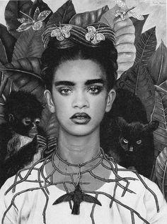 self-portrait with thorn necklace and hummingbird - frida kahlo + rihanna #artplusfashion #rihanna #fridakahlo #hannahwild