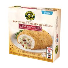 Deliciously different — diced apples, sweetened cranberries, and a creamy blend of Brie and other cheeses fill a breaded stuffed chicken breast. A satisfying entrée that makes any meal simply special.