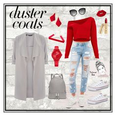 """Duster coat means fall!"" by anastasia-fashion on Polyvore featuring Dorothy Perkins, Michael Kors, Dolce&Gabbana, Kendra Scott, Tommy Hilfiger, Converse and Lime Crime"