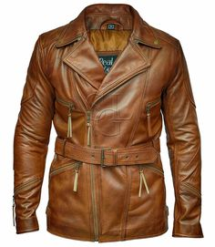 Mens 3/4 Motorcycle Biker Brown Distressed Vintage Leather Jacket | eBay