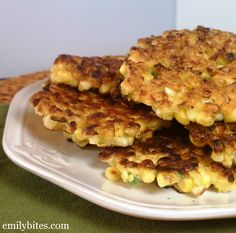 Crispy Corn Fritters - fresh and tasty at just 82 calories or 2 Weight Watchers points each! www.emilybites.com #healthy