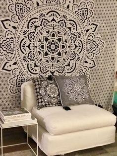 Mandala wall stencils DIY for home of work place decor. Mandala Ibiza wall stencils to pimp your home, garden, office, shop, restaurant or club! Mandala Print, Mandala Tapestry, Mandala Design, Interior Design Living Room, Living Room Decor, White Pillow Cases, Décor Boho, Boho Style, Black And White Pillows