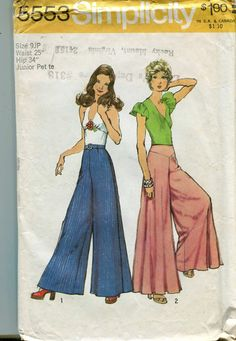 Simplicity 5553 Vintage Extra Wide Bell Bottom Pants Pattern