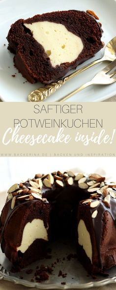 Rotweinkuchen mit Cheesecake-Swirl Red wine cake recipe with cheesecake filling. Delicious red wine cake with cheesecake swirl! Baking Recipes, Cake Recipes, Dessert Recipes, Donut Recipes, Cake & Co, Sweets Cake, Food Cakes, No Bake Desserts, No Bake Cake