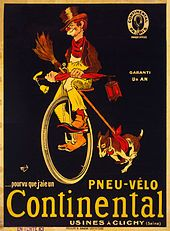 """If I only had a Continental bicycle tire."" Advertising poster for Continental tires showing a hobo on a unicycle with his dog running beside (c. 1900)."