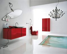 Bathroom, Red White Bathroom Remodeling With Infloor Bathtub Concept And Using Minimalist Furniture: A Practical Procedure Of Bathroom Remod. Contemporary Bathroom Designs, Modern Design, Red Design, Bathroom Furniture, Bathroom Interior, Marble Interior, Pool Furniture, Cabinet Furniture, Contemporary Interior