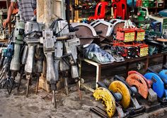 Tools for sale near the Russian market.