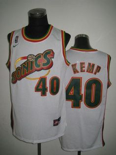 9dfe09308276 Thunder  40 Shawn Kemp White SuperSonics Throwback Embroidered NBA Jersey!  Only  20.50USD