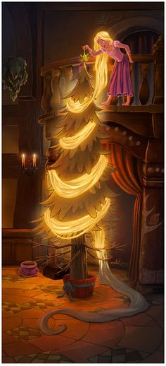 Rapunzel decorating a Christmas tree - Unfortunately, I have no idea who made it, so I can give him/her credit, as the link doesn\'t lead directly to the pic. Not annoying in the least... | Mickey and Company ~