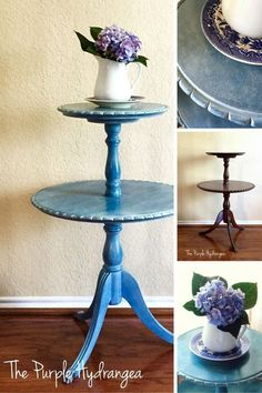 Pie crust table in Flow Blue by Miss Mustard Seed's Milk Paint.