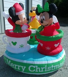mickey minnie tea cups revolving gemmy christmas inflatable airblown animated - Disney Christmas Inflatables