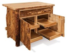 Amish Rustic Log Kitchen Island Rustic richness for your kitchen! Includes two drawers and cabinets house 4 roll out trays just right for mixers, blenders, crock pots and more! Can be made unfinished or with matte or semi gloss varnish.