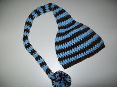baby blue and brown elf hat