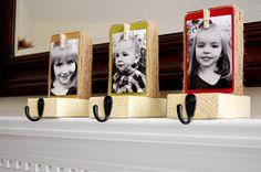 Stocking holders,   Supplies:  2x4 wood (5 inches each)  Scrapbook paper  Mod Podge  Paint  Mini clothespins  Hooks  Jute  Sandpaper  Hot glue,