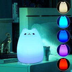 LED Light Color Changing Pusheen USB Plug-in Glow Lamp Decoration