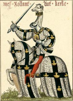 Roland d'Uutkercke, sgr de Hemsrode, (?-1442) (Gaignières 1835). -- Aquarelle, d'après «Carousel des chevaliers de l'ordre de la Toison d'or, fait à Bruges aux nopces de Philippe le Bon, duc de Bourgogne, avec l'infante Isabel de Portugal au mois de janvier M.CCC.XXX», ms du cabinet de l'empereur d'Autriche, à Vienne. -- «Mes[sire] Rollant Duut Kerke»