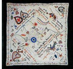 Traditional Portuguese courtship handkerchiefs, called lenços dos namorados.